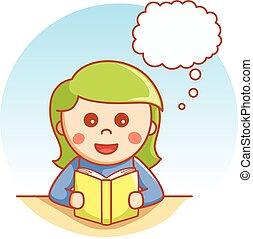Girl reading wondering