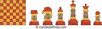 Chess pieces with Spain flag