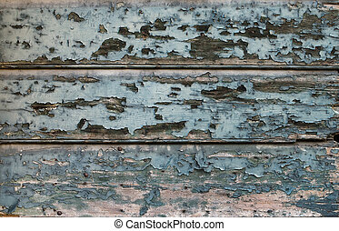 Old painted cracked blue wooden texture Vintage rustic style...