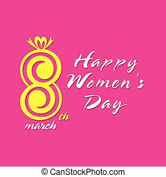 happy womens day greeting design, celebrate on 8 of march...