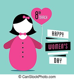 happy womens day design - happy womens day, cute girl with...