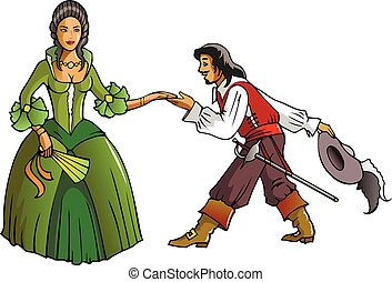 Musketeer and the Queen - Brave musketeer shows reverence to...