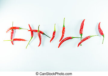 Red hot chilli on white background