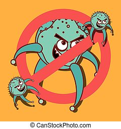 Germs and bacteria cartoon graphic design, vector...