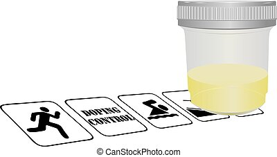 Doping control in sports, the container filled with urine