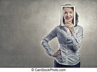 Woman with tablet expressing positivity - Smiling woman...