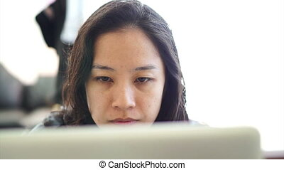 Asian woman girl working computer - Asian woman girl working...