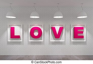 love in picture frame on the white