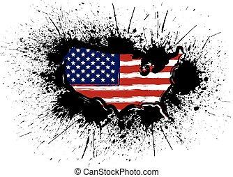 USA Flag in Map Grunge Ink Splatter Illustration
