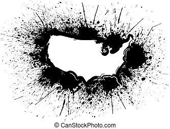 USA Map Outline Grunge Ink Splatter Illustration