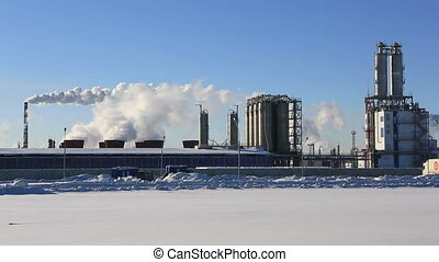 Factory, smoke and blue sky in winter morning - Factory,...