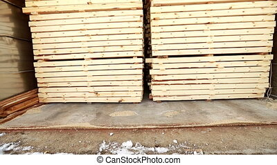 Woodworking. View of produced building materials - View of...