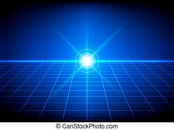 Abstract bright flare with grid perspective on blue background. Vector illustration.