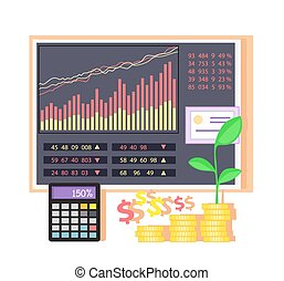Invest in Shares Concept Icon Flat Design - Invest in shares...