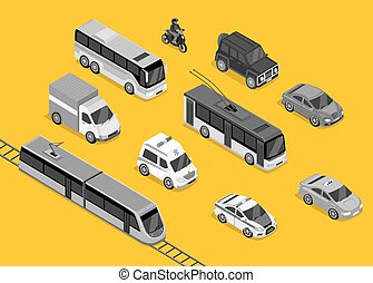 Isometric 3d Transport Set Flat Design