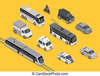 Isometric 3d Transport Set Flat Design - Isometric 3d...