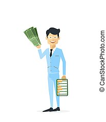 Businessman with Money Gold Isolated - Businessman with...