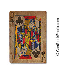 Very old playing card, Jack of clubs - Very old playing card...