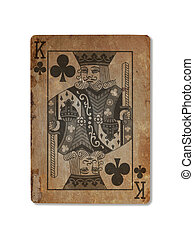 Very old playing card, King of clubs - Very old playing card...
