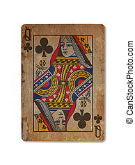 Very old playing card, Queen of clubs - Very old playing...