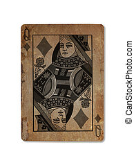 Very old playing card, Queen of diamonds - Very old playing...