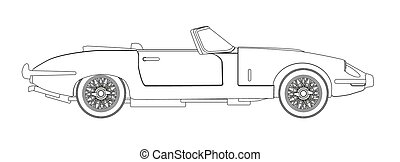Sports Car Outline - A typical sleak British style open top...