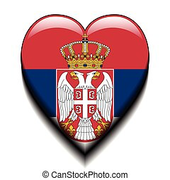 Serbia in my heart - Illustration Serbian flag in the heart...