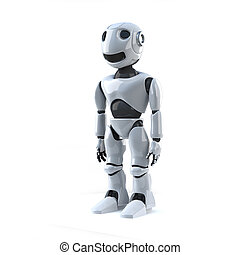 3d Robot - 3d render of a robot standing to attention