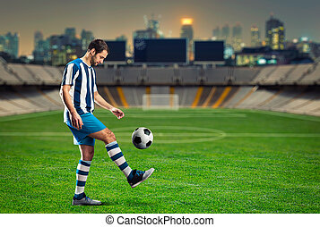 Football-player on the football ground - Football player...