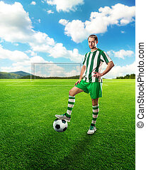 Football-player on the football ground - Football-player...