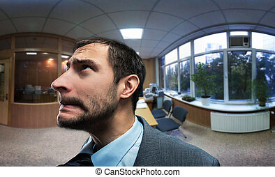 Frustrated businessman - Frustrated and scared businessman...