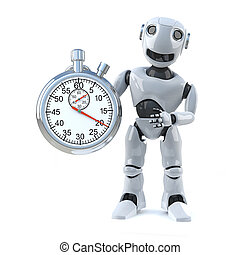 3d Robot times the event with a stopwatch - 3d render of a...