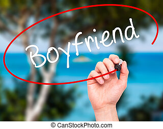 Man Hand writing Boyfriend with black marker on visual...