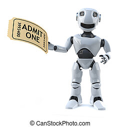 3d Robot has a ticket to the event - 3d render of a robot...