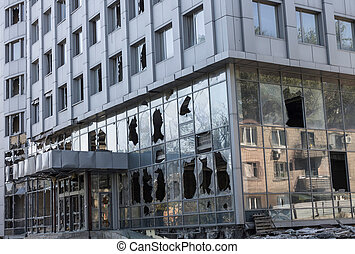 Broken windows of weapons falling into the Donetsk - Modern...