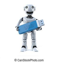 3d Robot holding a USB stick drive - 3d render of a robot...