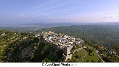 4K Aerial, Flight along the beautiful Castillo de Castellar,...