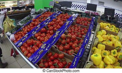 vegetables at supermarket - Vegetables at the crats in...