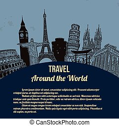 Travel around the World retro poster