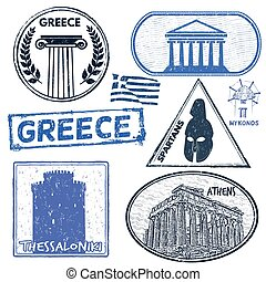 Greece set of stamps - Set of grunge stamps with Greece on...
