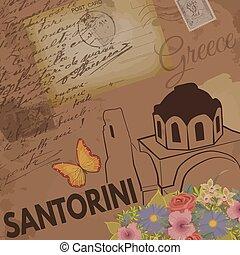 Santorini vintage poster on nostalgic retro background with...