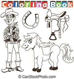 cowboy pony color book - Cartoon vector illustration of a...