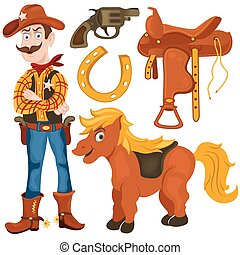 cowboy pony saddle - Cartoon vector illustration of a...