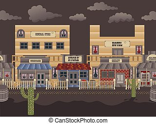 old western town tillable - night - Vector illustration of...