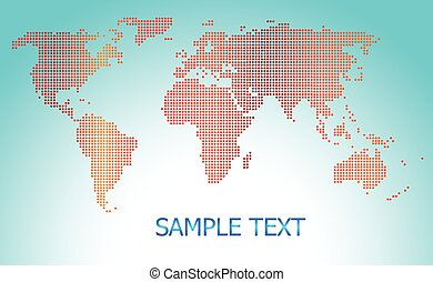 Dotted world map blue background vector