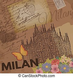 Milan vintage poster on nostalgic retro background with old...