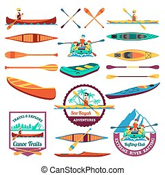 Rafting Canoeing And Kayak Elements Set - Canoe trails and...