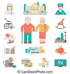 Senior Lifestyle Flat Icons Set - Senior lifestyle flat...