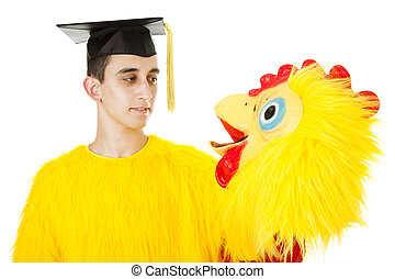 Graduate in Chicken Suit - Depressed college graduate can...