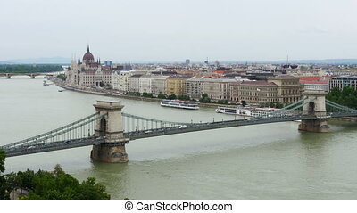 Budapest View with Parliament Building and Danube River,...